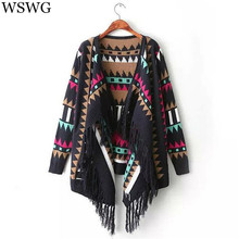 Fashion Coat Tassel Autumn Winter Knitted Cardigan Women Geometric Printed Long Sleeve Crochet Loose Women's Sweaters 60193
