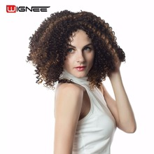 Wignee Short Afro Kinky Curly Synthetic Wigs For Black/White Women High Heat Mixed Brown Cosplay Wig Gluenless Natural HairStyle