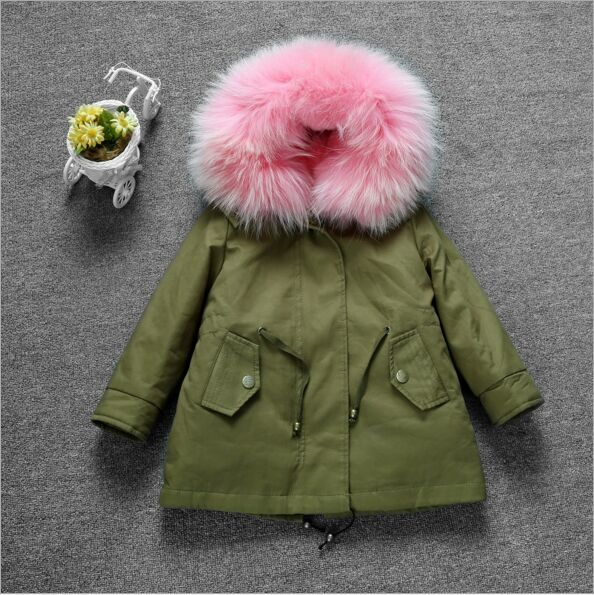 New Arrival 2016 Girls Winter Jackets with Fur lining Boys Camo Parkas Fox Fur Collar Kids Long Coat for winter Two-pecies Set <br><br>Aliexpress