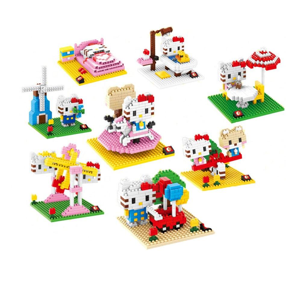 Hello Kitty cat minifigures minecraft building Blocks Fountain Navy seesaw kimono Girl birthday Figure Kids Toys Action 0859<br><br>Aliexpress