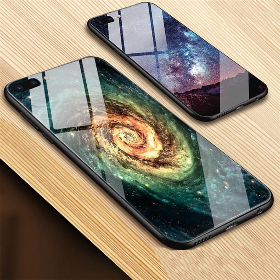 TOMKAS Star Sky Pattern Glass Case For iPhone X 7 8 6 6 s Cover Phone Cases For iPhone 7 8 6 6s Plus X Case Silione TPU PC Coque (3)