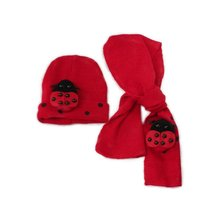 ABWE Cute Baby Winter accessories cotton knitted hat+scarf sets baby Boy Girls unisex Ladybug animals warm