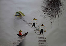 Hand Painted Oil Painting on Canvas Vietnam Landscape Fishing Painting Canvas Painting Modern Wall Art Pictures for Living Room