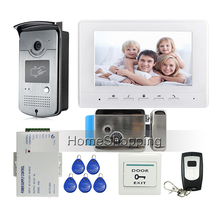 "FREE SHIPPING 7"" Screen Video Door Phone Intercom System + 1 White Monitor + Outdoor RFID Access Doorbell Camera + Electric Lock(China)"