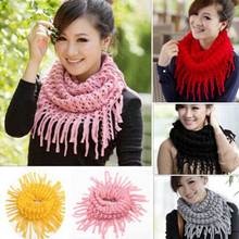 2017 Fashion Women Winter Warm Knitted Tassel Wool Snood Scarf Cowl Neck Circle Shawl Wrap(China)