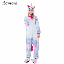 2017 Halloween Anime Pajama Sets Cartoon Sleepwear Women Pajamas Flannel Animal Stitch Panda Unicorn Pajama Winter Warm Hooded(China)