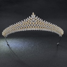 Full 5A CZ Cubic Zirconia Leaves Wedding Bridal Gold&Silver Tiara Crown Diadem Women Hair Jewelry Accessories S90018(China)