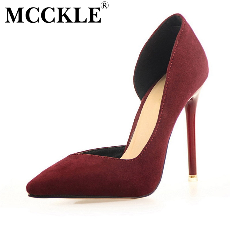 MCCKLE 2017 Fashion Womens Fuax Suede Pumps Sexy Pointed Toe Thin High Heel Shoes Woman Wedding Party Shoes 7 Colors new hot<br><br>Aliexpress