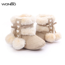 Free Shipping 2017 New Fashion Baby Bebe Kids Newborn Children Infant Girls Winter Warm Snow Boots Shoes 0-18M(China)