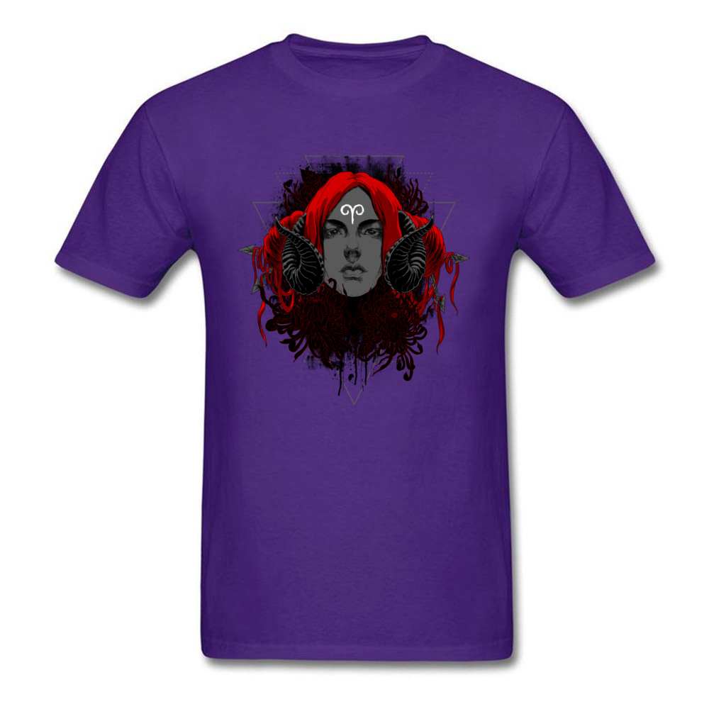 Printed On3D Printed Short Sleeve Tops T Shirt ostern Day Fitted Crew Neck All Cotton Tops & Tees Mens T-shirts Aries  Aries purple