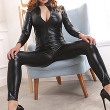 Buy Sexy Black Front Zipper Open Crotch Stretch Clubwear Erotic Pole Dance Lingerie Female Faux Leather Catsuit PVC Latex Bodysuit