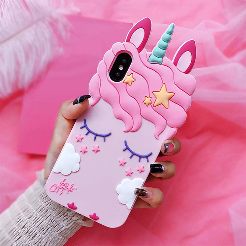 3D Cartoon Soft Silicone Phone Case For iPhone 5 S SE 6 6S 7 8 Plus X XR XS Max Case for iphone 7 Pink Unicorn Animal Back Cover (3)