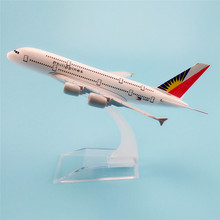 16cm Metal Aircraft Plane Model Air Philippines Airlines Airbus 380 A380 Airways Airplane Model w Stand Kids(China)