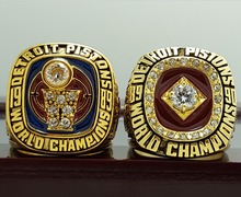 2 PCS 1989 1990 Detroit Pistons Basketball world championship ring 8-14S copper solid back ingraved inside(China)
