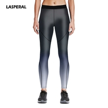 LASPERAL Hot Sale Women Fitness Leggings Black Line Print Yoga Pants Elastic Stretch Workout Trousers Sports Clothing Plus Size