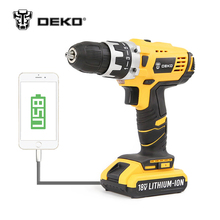 DEKO GCD18DU2 18V DC New Design Mobile Power Supply Lithium-Ion Battery Cordless Drill/Driver Power Tools Electric Drill