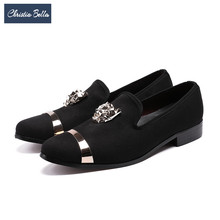 Christia Bella Brand Italian Suede Men Loafers Metal Charm Banquet Wedding Dress Shoes British Style Smoking Slippers Men Flats(China)