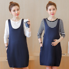 Sweet Maternity Clothing Fake 2piece O-neck Long Sleeve Solid Dress Autumn Spring Dresses for Pregnant Woman Dress Blue M L 2XL(China)