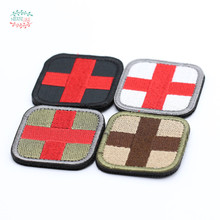 ONE PIECE Original Color RED CROSS Medical Assistant 3D Embroidery Patch Armband Tactical Gear Props Cloth Patches 5*5cm(China)