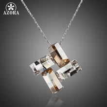 AZORA Four Rectangles Connected End to End Stellux Austrian Crystal Pendant Necklace TN0058