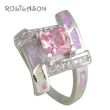Pink Crystal Party item for Girls Pink Fire Opal Silver Stamped Zirconia Fashion Jewelry Rings USA #6#7#7.5#8#9 OR666