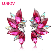 2016 Trendy Angel Wing Design Opal Stone Stud Earrings Women Elegant Crystal Earrings Christmas Gift Jewelry