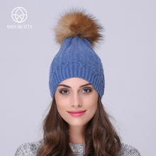 Andybeatty women Skullies Beanies Fur Pom Poms Pretty classic knit cap lines winter hat fur ball knitted warm hats