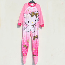 baby rompers in cartoon designs 6pcs/lot 4-10yrs Girls' Hello Kitty Pajamas,Girls Fleece Blanket Sleepers