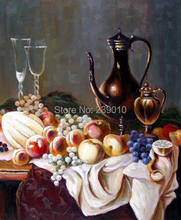 free shipping realist oil painting canvas print still life Oil Painting on Canvas fruit tablecloth table painting