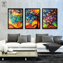FULL HOUSE Color Tree  Frameless Canvas Painting Spray Prints Poster Chrismas Wall Decor For Living Room  Oil Painting 2A01