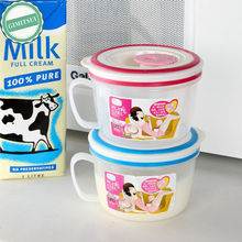 1Pcs Microwave Cook Scale Measure Milk Pot Cup Container With Handle 450ml Milk Jug Pitcher Tea Coffee With Lid Sealed Cover