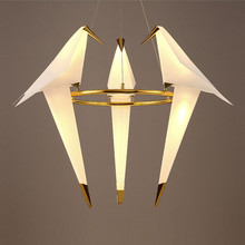 Modern 3 Arms Circle Cranes Pendant Lights Lamps Bedroom White Birds LED Ceiling Fixtures Lighting