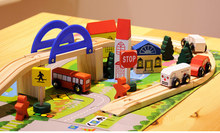 Children brand wooden Traffic cars with Interchange Bridge Blocks/ kids 3D assembly building blocks with train track railway