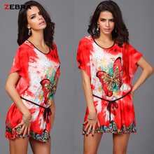 2016 The new woman  Vestidos bohemia loose dress European butterfly Ice Silk Printing Fat MM leisure  vestidos Hot sale