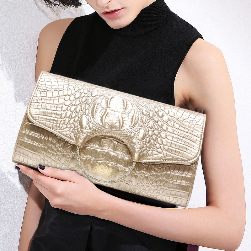 Simple Female Shoulder Bags Evening Bag New Fashion Womens Genuine Leather Bag Alligator Skin Envelope Bag Day Clutches Purse<br>