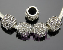50 Pcs/Lot Vintage Silver Tone Flower Big Hole Beads For European Charm Bracelet Jewelry DIY zyy118(China)