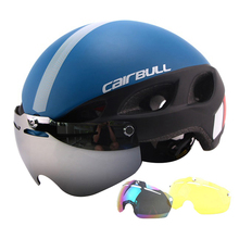 Professional Magnetic Goggles Cycling Helmet Casco Ciclismo IN-MOLD Bike Bicycle Helmet Road Mountain MTB Helmet With Glasses(China)