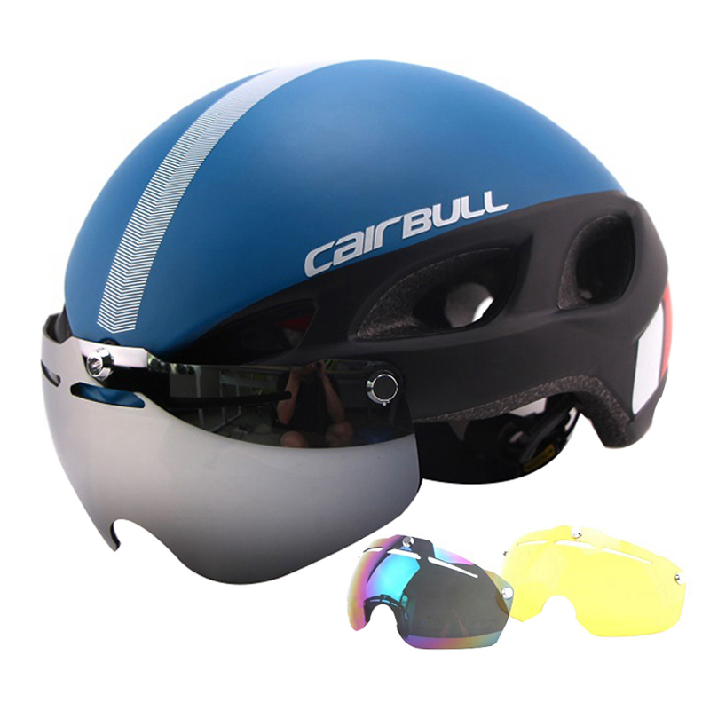 Professional Magnetic Goggles Cycling Helmet Casco Ciclismo IN-MOLD Bike Bicycle Helmet Road Mountain MTB Helmet With Glasses<br>