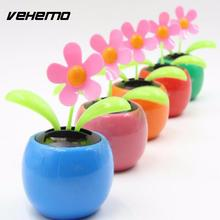 Vehemo Hot sale Dancing Solar Power Flip Flap Flower For Car Ornament Flower Toy Gift ornaments Colorful(China)