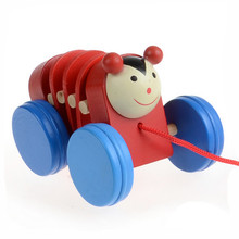 Toddler Pull Carts on Wheels With Cartoon Animal Wooden Educational Toys brinquedos kids toys Vee_Mall