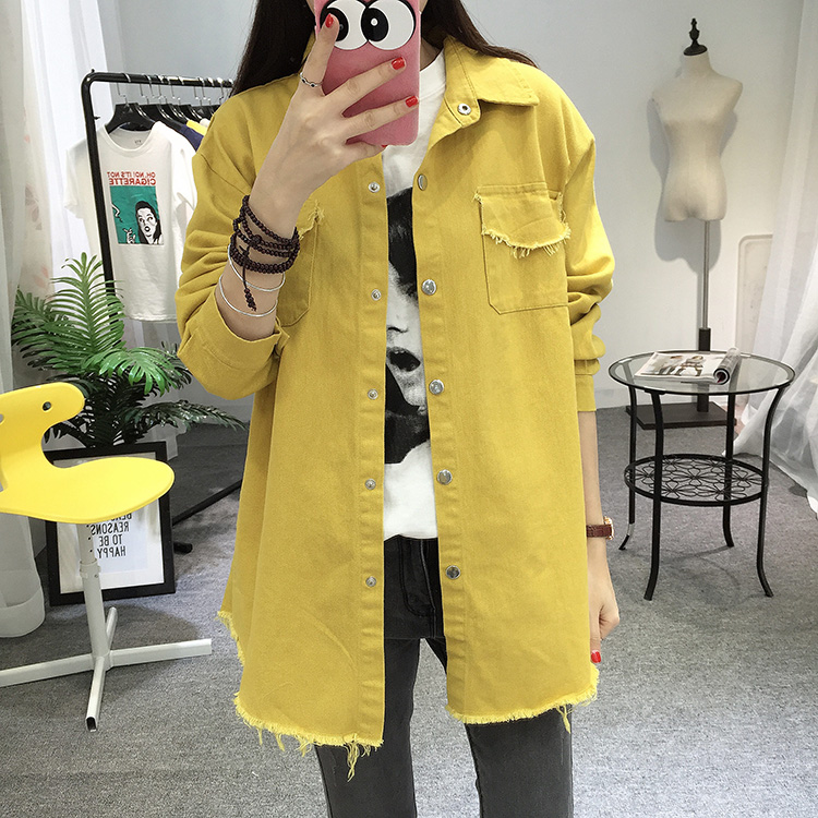2018 Spring Autumn New Long Section Lapel Tassel Denim Jackets Women Loose Casual Long Sleeve Female\'S Thin Basic Jacket Coats (4)