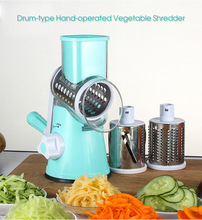 Original Stainless Steel Drum-type Hand-operated Vegetable Shredder Device Round Mandoline Slicer Vegetable Cutter Kitchen Tool(China)