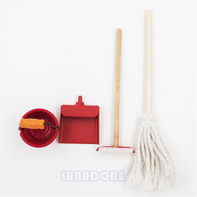 Odoria 1:12 Miniature 4PCS Red Cleaning Tools in 1 Set Dollhouse Garden Accessories(China)