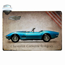 """Chevrolet Corvette Stingray"" Vintage Metal Tin Signs Retro Tin Plate Sign Wall Decoration for Cafe Bar Shop and Restaurant"