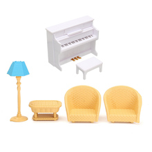 Sylvanian Families Toy Mini Sofa Piano Table Furniture Toys Dollhouse Sofa Piano Table Miniature Furniture Sets Gift For Kids(China)