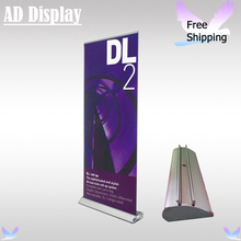 Free Shipping 85*200cm Double Side Wide Base Aluminum Roll Up Advertising Display Banner Stand With Full Color Fabric Printing(China)