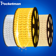 led Ribbon 220V SMD 5050 Flexible Led Strip Light 1M/2M/3M/4M/5M/6M/7M/8M/9M/10M/15M/20M+Power Plug,60leds/m IP65 Waterproof(China)