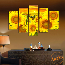 5 Panel Canvas Prints Art Blooming Sunflowers Oil Painting Floral Wall Art Picture for Living Room Home Decorative Paintings