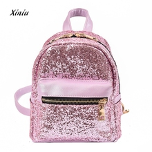 High Quality Women's Shinning Glitter Bling Backpack Women Fashion School Style Sequins Travel Satchel School Bag Backpack Bag(China)