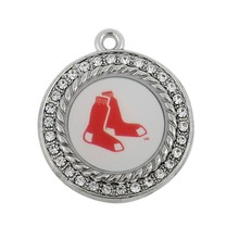 Fishhook 20pcs Sport style enamel bronze and antique silver plated Boston Red Sox baseball team logo charms jewelry(China)
